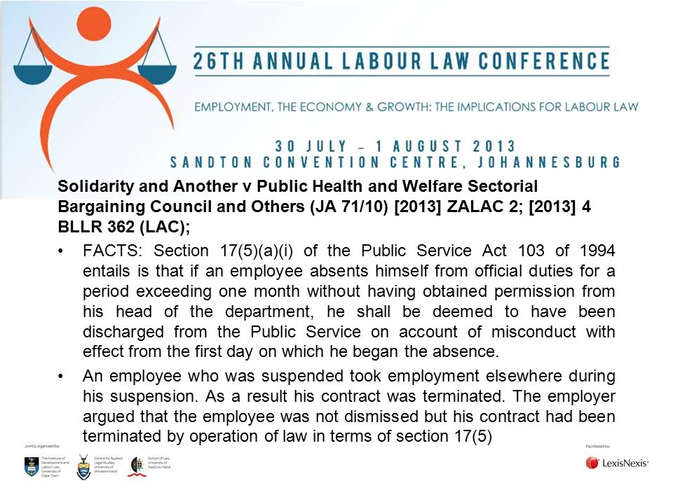 Solidarity and Another v Public Health and Welfare Sectorial Bargaining Council and Others (JA 71/10) [2013] ZALAC 2; [2013] 4 BLLR 362 (LAC);